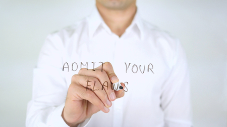 Admit Your Flaws, Man Writing on Glass, Handwritten Stock Photo