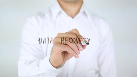 Data Recovery, Man Writing on Glass