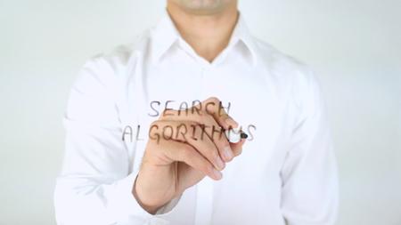 algorithms: Search Algorithms, Man Writing on Glass