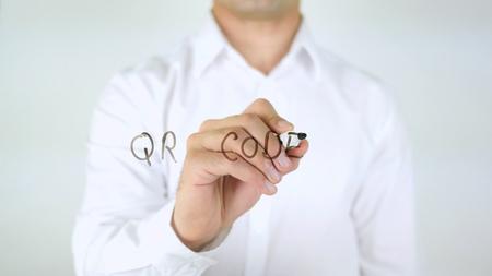 QR Code, Man Writing on Glass