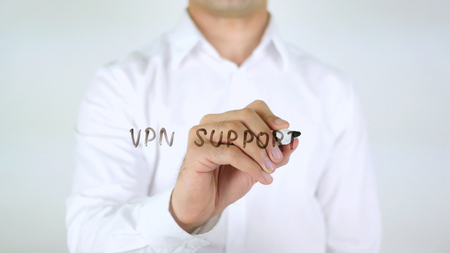 VPN Support, Man Writing on Glass