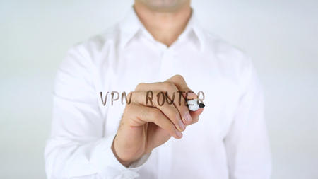 VPN Router, Man Writing on Glass