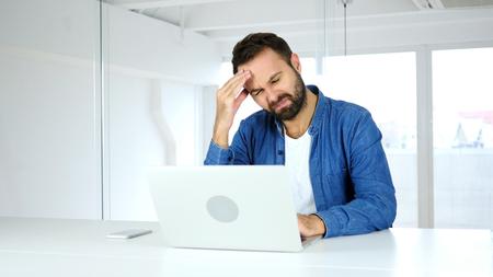 Headache, Frustrated Beard Man, work pressure