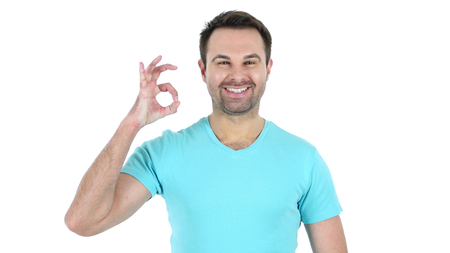 Okay Sign by Middle Aged Man Isolated on White Background