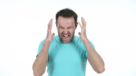 Screaming Middle Aged Man Isolated on White Background Imagens