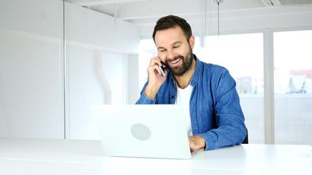 Phone Talk, Satisfied Happy Man Negotiating on Smartphone