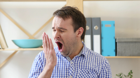 Yawning Tired Man in Office, Sleep at Work in Office