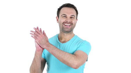 Clapping Middle Aged Man Isolated on White Background Stok Fotoğraf