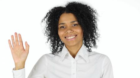 Hello Gesture by Black Woman, Waving Hand