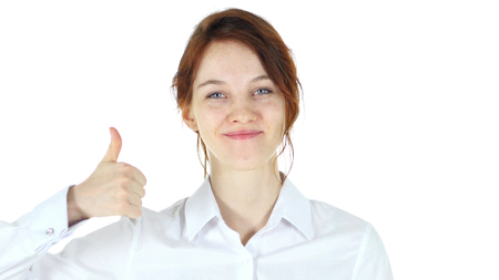 buena postura: Thumbs Up, Red Hair Woman isolated on white background