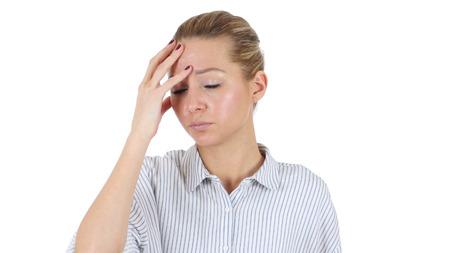 Headache, Tense Businesswoman Isolated on White Background Stock Photo