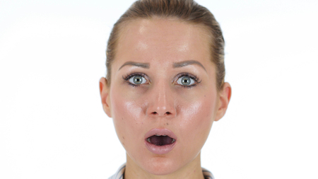 Close Up of Woman Face in Shock Isolated on White Background