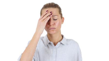Businesswoman in Tension Holding Head, Headache, White Background Stok Fotoğraf