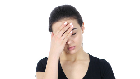 Headache, Portrait of Woman on White Background