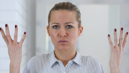 Angry Woman Portrait in Office, Fighting at Work