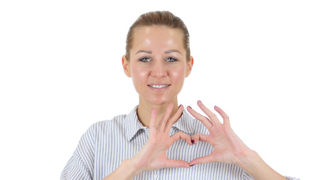 Handmade Heart by Woman Isolated on White Background