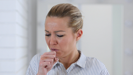 Portrait of Sick Woman Coughing, Cough at Work Stok Fotoğraf