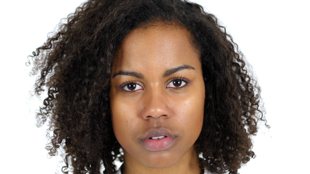 Serious Young Black Woman Face isolated on White Background