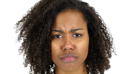 Sad Black Woman Face, Crying isolated on White Background Stock Photo