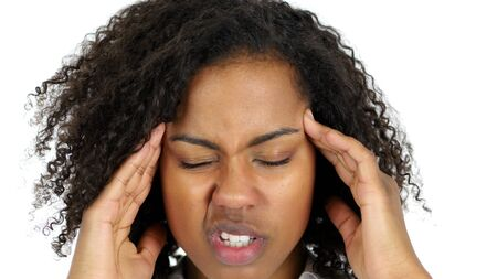Frustrated Black Woman with Headache isolated on White Background