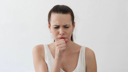 Cough, Sick Young Woman Coughing, Throat Infection, Portrait in Designer Office