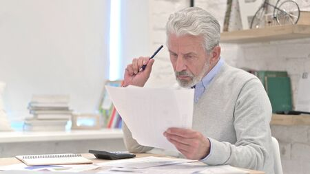 Senior Old Man Reading Documents at Work Stock Photo
