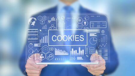 Cookies, Businessman with Hologram Concept
