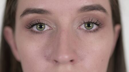 Close up of Blinking Eyes of Young Woman