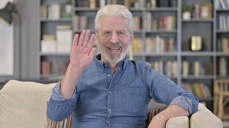 Old Senior Man Talking for Online Video Chat