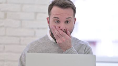 Close Up of Shocked Man Reacting to Loss on Laptop