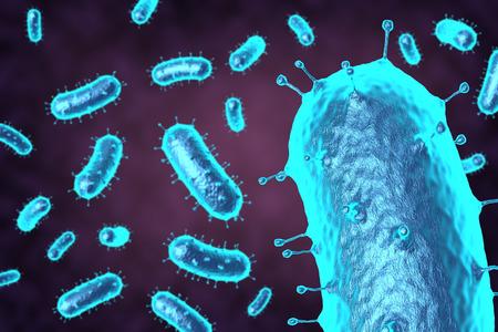 3D rendering bacteria or virus in blue for medical uses
