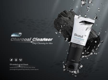 Annonces commerciales de nettoyant au charbon, produits et ingrédients tombant dans l'eau en illustration 3d