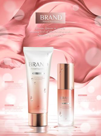 Anuncios de productos de cuidado de la piel rosa de lujo con satén ondulado en la ilustración 3d sobre fondo bokeh