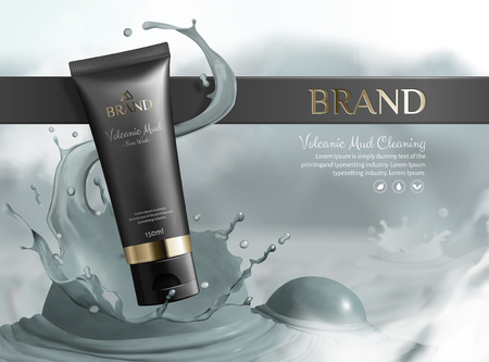 Volcanic mud skincare product with black plastic tube and splashing mud in 3d illustration Vektoros illusztráció