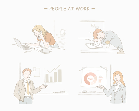 People at work set in hand drawn line style Illustration