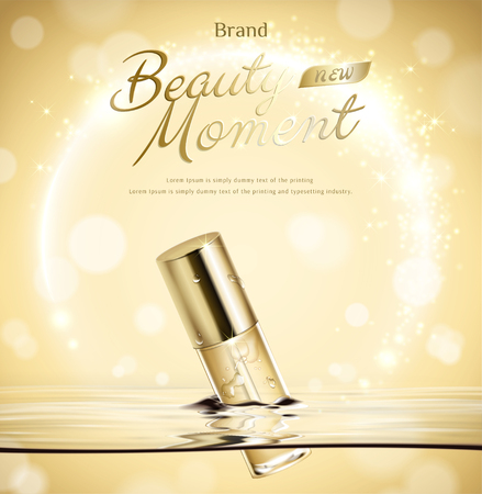 Beauty moment droplet bottle float in water on golden glittering background in 3d illustration