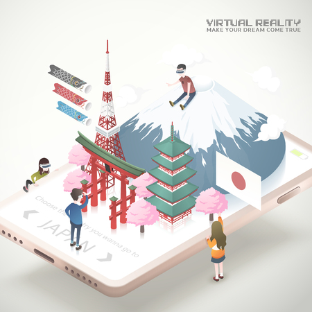 Virtual reality concept in 3d isometric projection style, Japan tourism app
