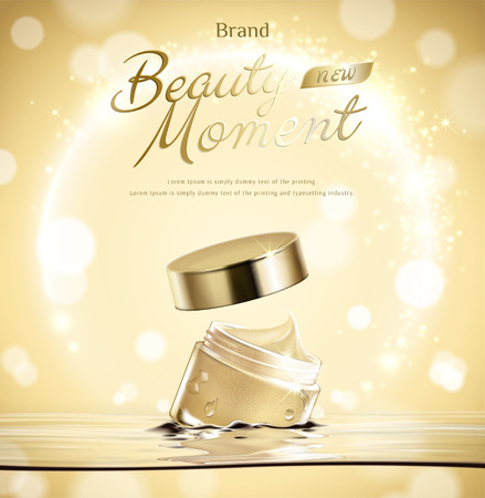 Beauty moment cream jar float in water on golden glittering background in 3d illustration