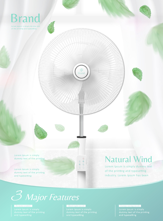 Stand fan moving the air in 3d illustration, sheer curtain and green leaves blowing in the air, appliance advertisement