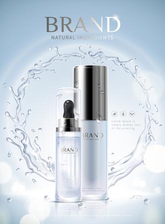 Moisturizing skincare ads with droplet glass bottle and swirling aqua effect on glittering blue background, 3d illustration 일러스트