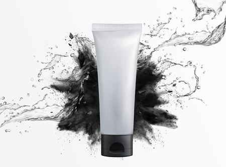Blank cosmetic plastic tube with charcoal powder explosion and splashing liquid on white background, 3d illustration