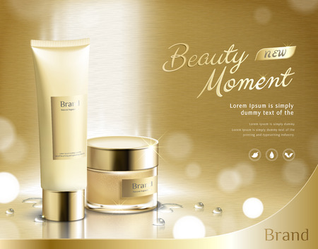 Beauty moment skincare product set on golden glittering background in 3d illustration, plastic tube and cream jar