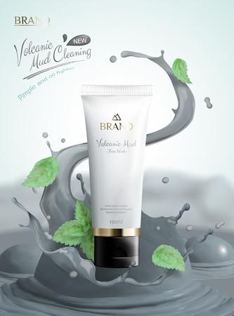 Produit de soin de la peau à la boue volcanique avec tube en plastique blanc et éclaboussures de boue en illustration 3d, feuilles de menthe volant dans les airs