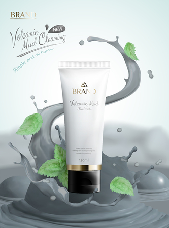 Volcanic mud skincare product with white plastic tube and splashing mud in 3d illustration, mint leaves flying in the air