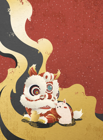 Lion dance and cute piggy, happy Chinese new year greeting poster