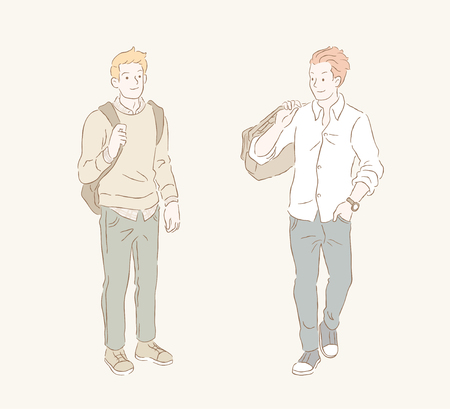 Man in smart casual style, young mens fashion in hand drawn line and pastel tone
