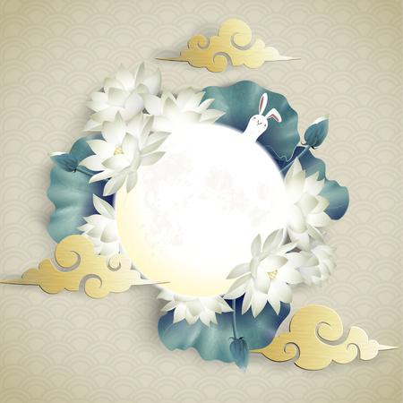 Mondfest-Design mit Vollmond- und Lotus-Dekorationen auf Wellenmuster