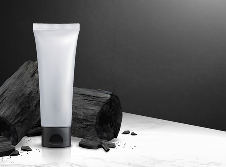Blank cosmetic plastic tube with charcoal in 3d illustration on marble stone table texture and black wall