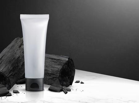 Tube en plastique cosmétique vierge avec du charbon de bois en illustration 3d sur la texture de la table en pierre de marbre et le mur noir Vecteurs