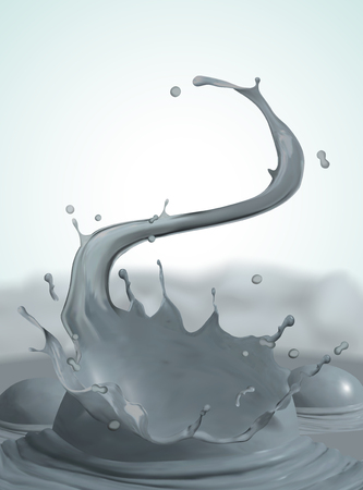 Swirling and splashing mud on steaming background, 3d illustration